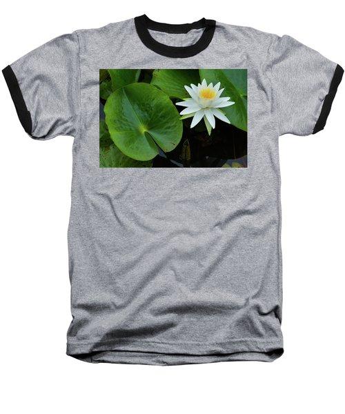 Crisp White And Yellow Lily Baseball T-Shirt