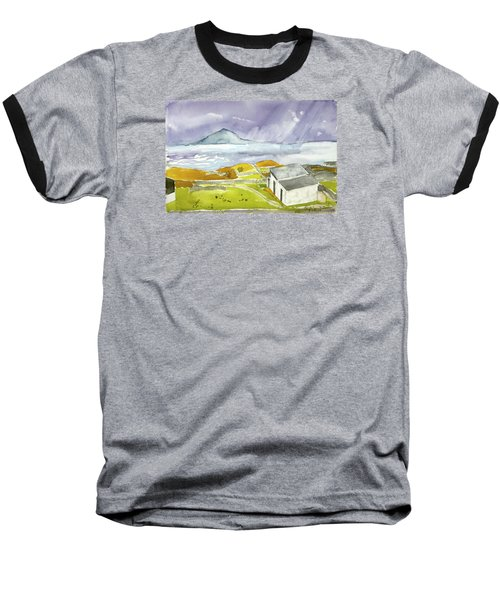 Croagh Patrick And Purple Sky Baseball T-Shirt