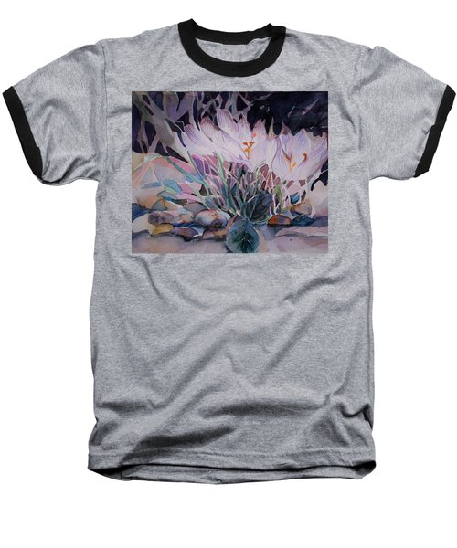 Baseball T-Shirt featuring the painting Crocuses by Mindy Newman