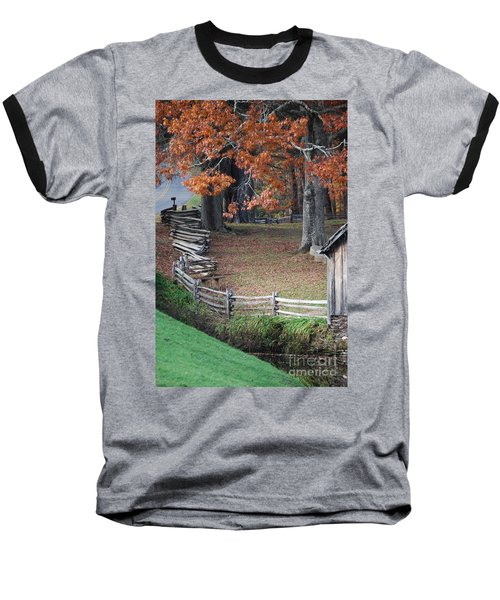 Crooked Fence Baseball T-Shirt by Eric Liller