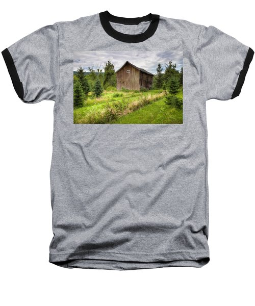 Baseball T-Shirt featuring the photograph Crooked Old Barn On South 21 - Finger Lakes New York State by Gary Heller