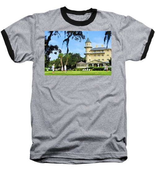 Croquet Anyone? Baseball T-Shirt by Laura Ragland