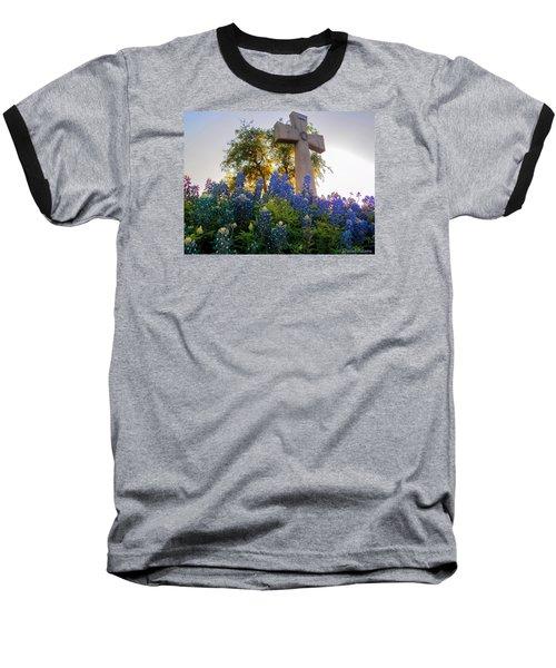 Da225 Cross And Texas Bluebonnets Daniel Adams Baseball T-Shirt