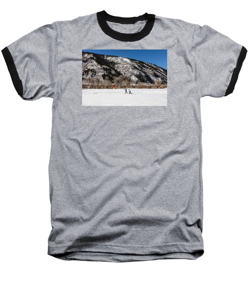 Cross-county Skiers Outside Aspen Baseball T-Shirt by Carol M Highsmith