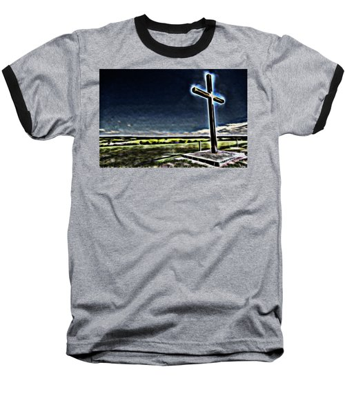 Cross On The Hill Baseball T-Shirt by Douglas Barnard