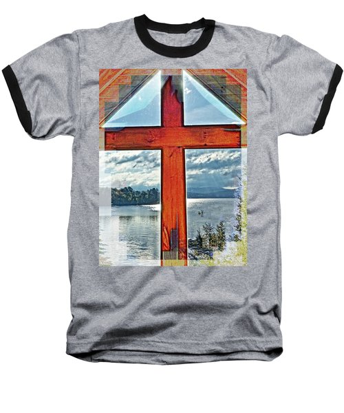 Cross Window Lake View  Baseball T-Shirt