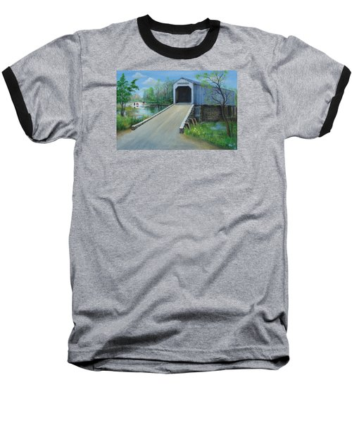 Baseball T-Shirt featuring the painting Crossing At The Covered Bridge by Oz Freedgood