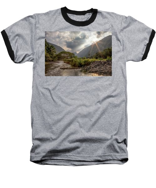 Crossing Hiilawe Stream Baseball T-Shirt
