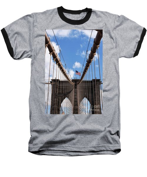 Baseball T-Shirt featuring the photograph Crossing The Brooklyn Bridge by Judy Wolinsky