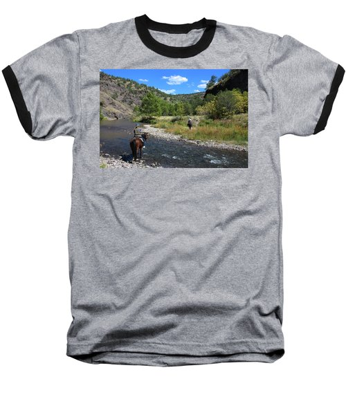 Crossing The Gila On Horseback Baseball T-Shirt