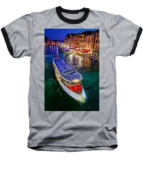 Vaporetto Crossing The Grand Canal At Night In Venice, Italy Baseball T-Shirt