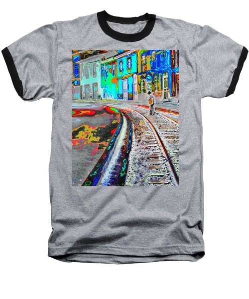Crossing The Tracks Baseball T-Shirt
