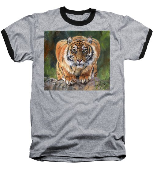 Baseball T-Shirt featuring the painting Crouching Tiger by David Stribbling