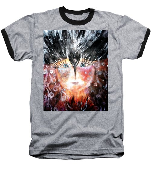 Baseball T-Shirt featuring the painting Crow Child by 'REA' Gallery