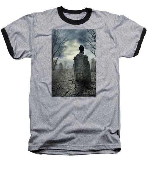 Crow On The Tombstone Baseball T-Shirt
