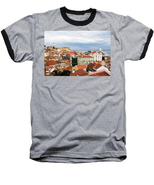 Cruise Ship Peeks Baseball T-Shirt by Lorraine Devon Wilke