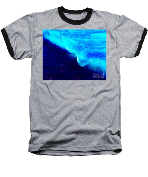 Crystal Blue Wave Painting Baseball T-Shirt by Catherine Lott