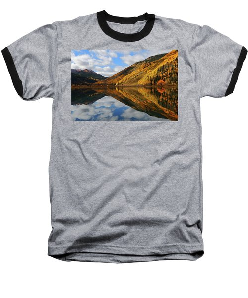 Crystal Lake Autumn Reflection Baseball T-Shirt by Jetson Nguyen