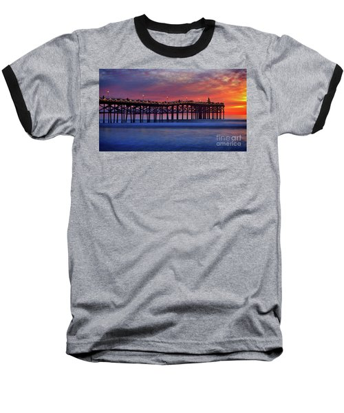 Crystal Pier In Pacific Beach Decorated With Christmas Lights Baseball T-Shirt