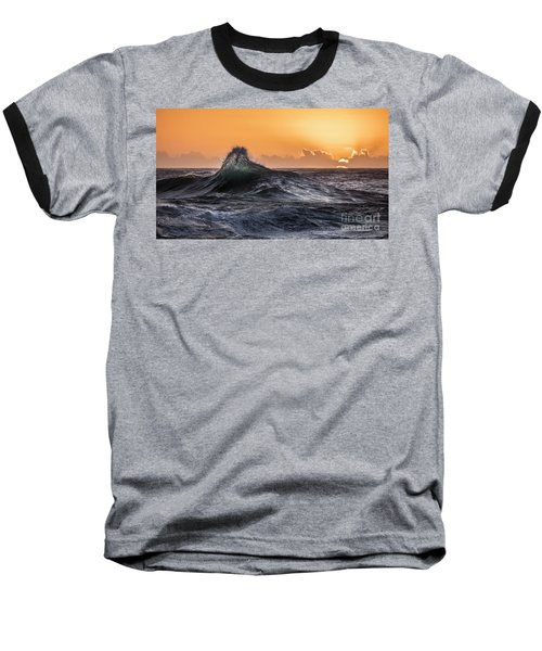 Crystal Wave Sunset Napali Coast Kauai Hawaii Baseball T-Shirt