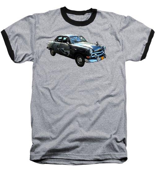 Cuba Taxi Art Baseball T-Shirt