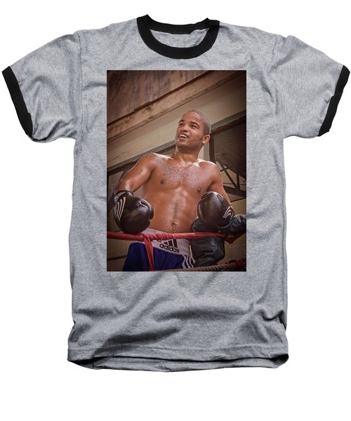 Baseball T-Shirt featuring the photograph Cuban Boxer Ready For Sparring by Joan Carroll