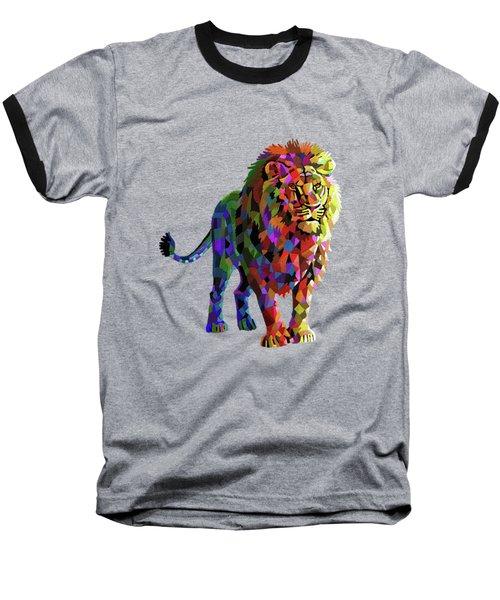 Geometrical Lion King Baseball T-Shirt by Anthony Mwangi