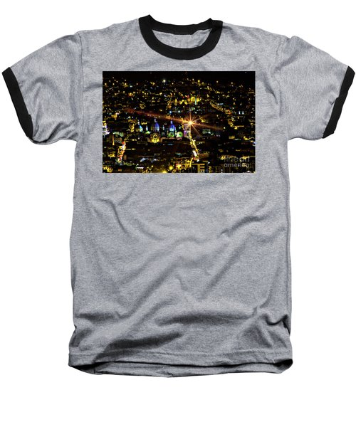 Baseball T-Shirt featuring the photograph Cuenca's Historic District At Night by Al Bourassa