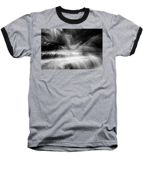 Cummins Falls In Black And White Baseball T-Shirt