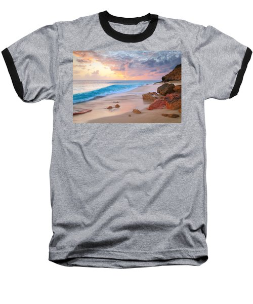 Cupecoy Beach Sunset Saint Maarten Baseball T-Shirt