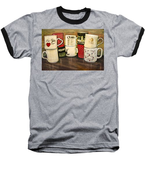 Baseball T-Shirt featuring the painting Cups Of Memory by Ron Richard Baviello