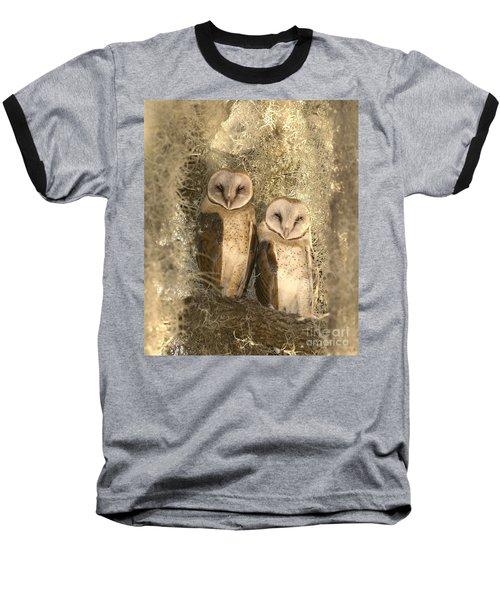 Curious Barn Owls Perched Baseball T-Shirt
