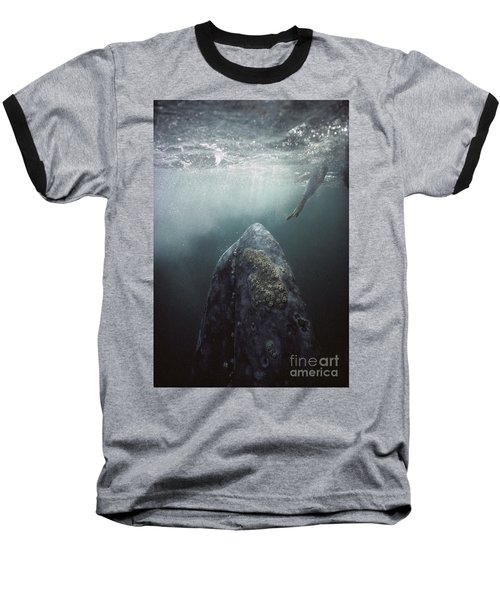 Curious Gray Whale And Tourist Baseball T-Shirt