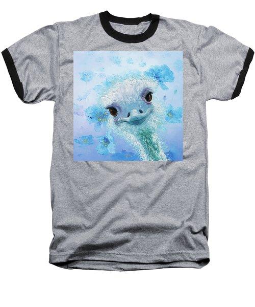 Curious Ostrich Baseball T-Shirt by Jan Matson