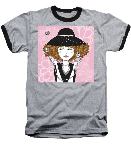 Curly Girl In Polka Dots Baseball T-Shirt