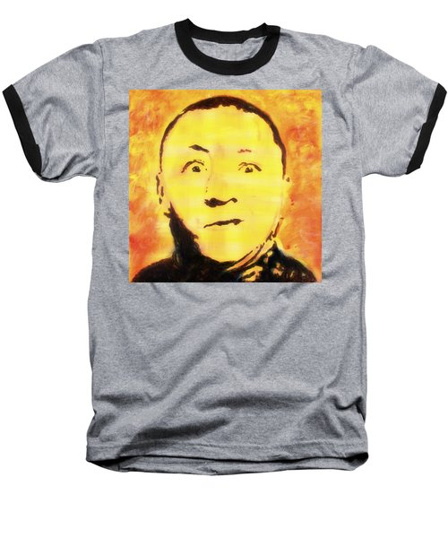 Baseball T-Shirt featuring the painting Curly Howard Three Stooges Pop Art by Bob Baker