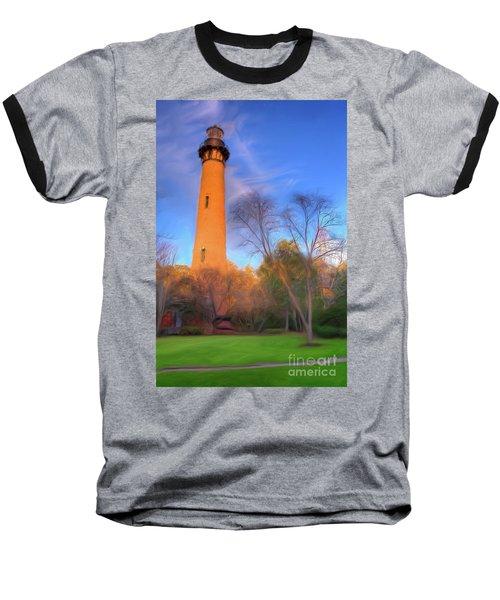 Baseball T-Shirt featuring the painting Currituck Lighthouse In Winter Outer Banks Ap by Dan Carmichael