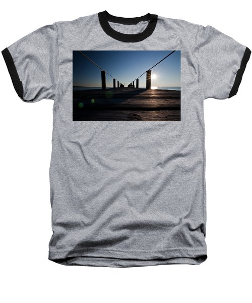 Currituck Sunset Baseball T-Shirt by David Sutton
