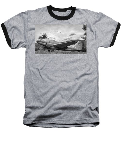 Curtiss C-46 Commando - Bw Baseball T-Shirt
