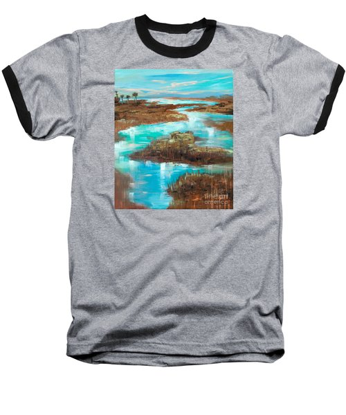 Baseball T-Shirt featuring the painting A Few Palms by Linda Olsen