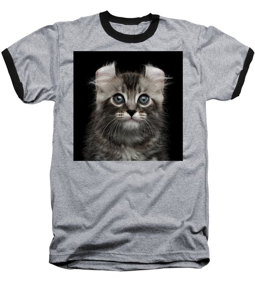 Cute American Curl Kitten With Twisted Ears Isolated Black Background Baseball T-Shirt