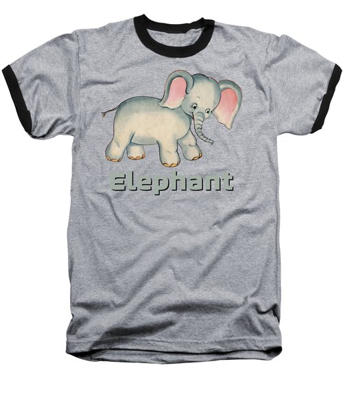 Cute Baby Elephant Pattern Vintage Illustration For Children Baseball T-Shirt