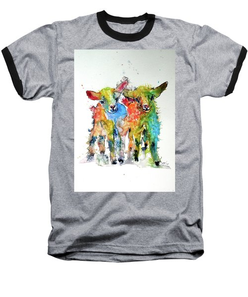 Cute Baby Goats Baseball T-Shirt by Kovacs Anna Brigitta