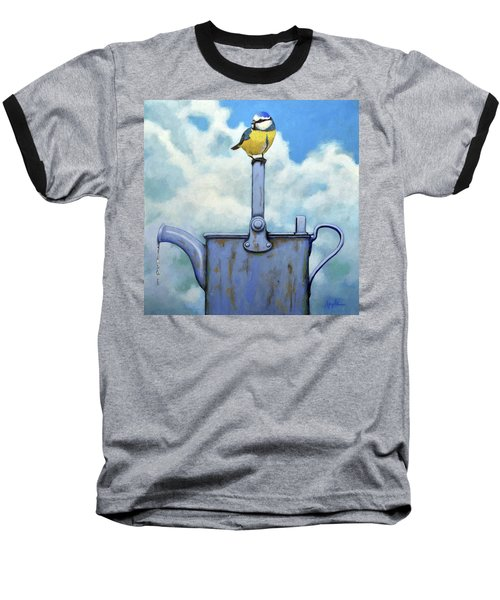 Cute Blue-tit Realistic Bird Portrait On Antique Watering Can Baseball T-Shirt