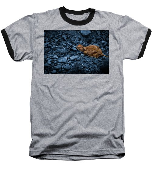 Cyanotype Horned Toad Baseball T-Shirt by Bartz Johnson