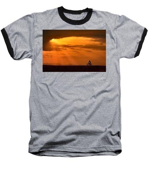Cycling Into Sunrays Baseball T-Shirt by Joe Bonita