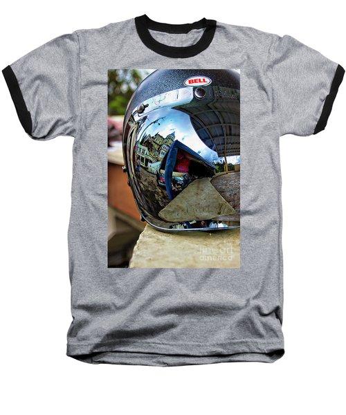 Baseball T-Shirt featuring the photograph Cyclist's View Of Biblian Church by Al Bourassa