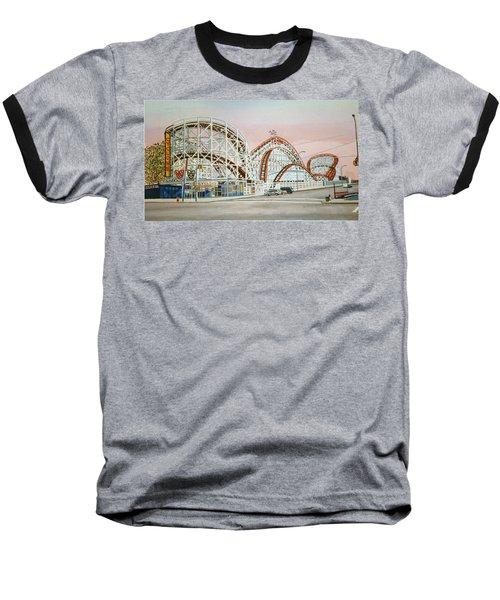 Cyclone Rollercoaster In Coney Island New York Baseball T-Shirt