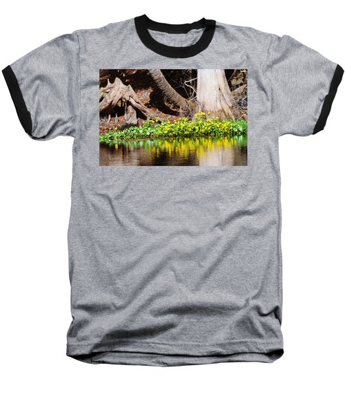 Cypress And Flower Reflections Baseball T-Shirt by Warren Thompson