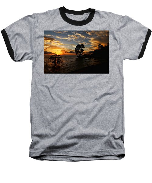 Cypress Bend Resort Sunset Baseball T-Shirt by Judy Vincent
